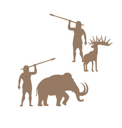 Silhouettes of ancient man and animals vector