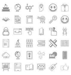 studying icons set outline style vector image