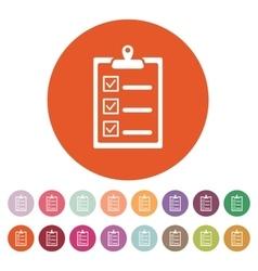 The checklist icon Clipboard symbol Flat vector image vector image