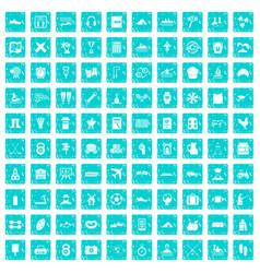 100 activity icons set grunge blue vector