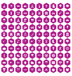 100 tree icons hexagon violet vector