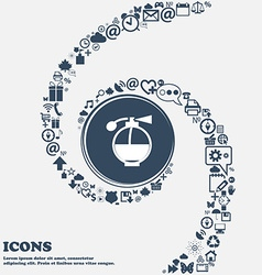 Perfume icon in the center Around the many vector image