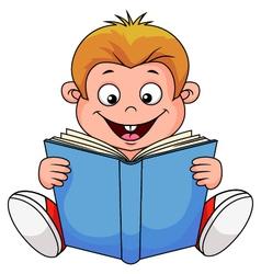 A cartoon boy reading a book vector image