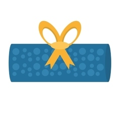 gift box roll blue dotted bow vector image
