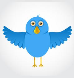 blue funny cartoon bird vector image