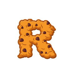 R letter cookies cookie font oatmeal biscuit vector