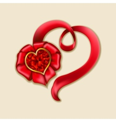 Hearts from ribbon Valentines day background vector image