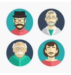 Flat design men icons vector