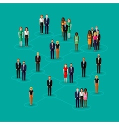Flat of society members with men and women vector