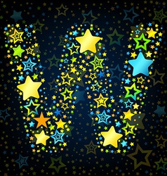 Letter w cartoon star colored vector