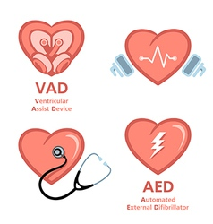 Heart care symbols vector image