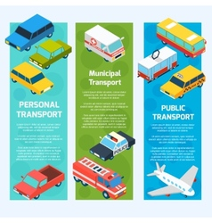Transport isometric banners vertical vector