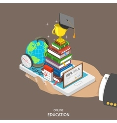 Online education isometric flat concept vector