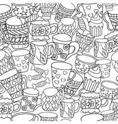 Pattern with cups and mugs hand drawn zentangle vector