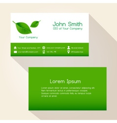 Simple nature green leaf business card design vector
