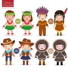 Children of the world usa hawaiian native american vector