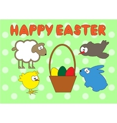 Happy easter animal set on green peas background vector
