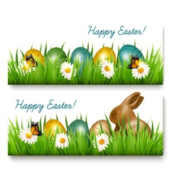 Two happy easter banners with easter eggs and vector