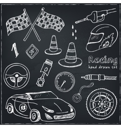 Racing auto items sketch icons vector