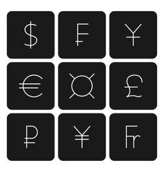 Set symbols of world currencies vector