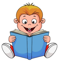 A cartoon boy reading a book vector image vector image