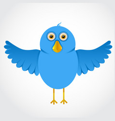 Blue funny cartoon bird vector
