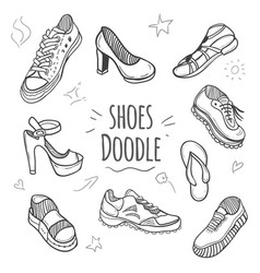 boots doodle collection vector image vector image