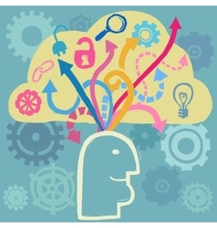 Brain and ideas flow vector