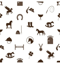 Brown simple horse theme icons seamless pattern vector