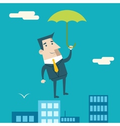 Businessman cartoon character with umbrella vector