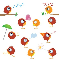 cartoon canaries bird set vector image