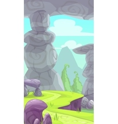 Cartoon rocky prehistoric landscape vector