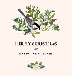 Christmas card with a bird vector