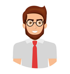 Colorful portrait half body of man with glasses vector