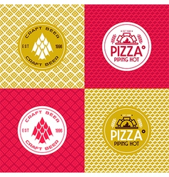 Craft beer and pizza seamless patterns and labels vector