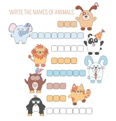 Crossword animals education game with words for vector image