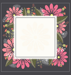 Design spring template card with white square vector