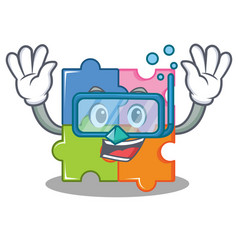 Diving puzzle character cartoon style vector