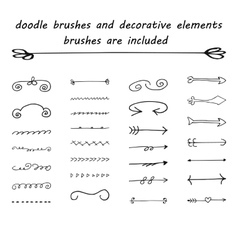 Doodleink brushes hand drawn decorative elements vector