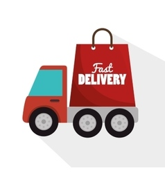 Fast truck delivery bag form icon graphic vector
