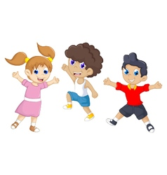 Funny tree children cartoon jumping vector