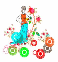 girl with flowers sketch vector image