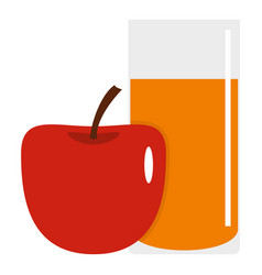 glass of juice with red apple icon isolated vector image