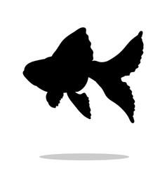 Goldfish fish black silhouette aquatic animal vector