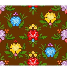 Gorodets painting seamless pattern floral ornament vector