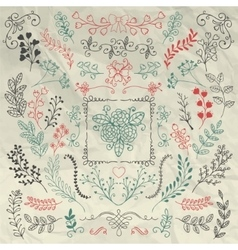 Hand sketched rustic floral branches on crumpled vector