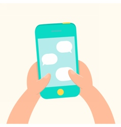 Hands holding smartphone and messaging vector image vector image