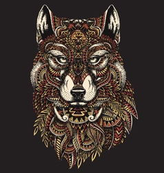 Highly detailed abstract wolf in colo vector image