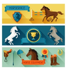 Horizontal banners with horse equipment in flat vector image