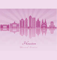 Houston v2 skyline in purple radiant orchid vector